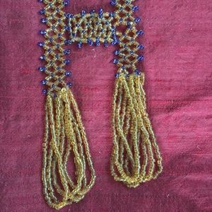 Deep Blue and Gold Colored Beaded Necklace